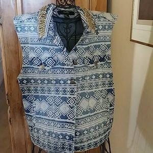 Forever 21 women's denim vest casual.